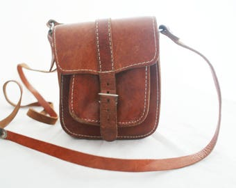 Purse - British Tan Leather small travel crossbody with silver hardware