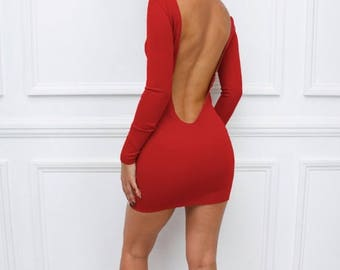 """ON SALE Womens Ladies New Red """"Sienna"""" Low Back Backless Bodycon Party Long Sleeve Mini Dress"""