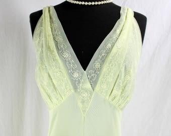 Vintage Vanity Fair Nightgown YellowNylon and Chiffon 38