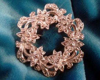 Vintage MarcasiteWreath  Brooch .