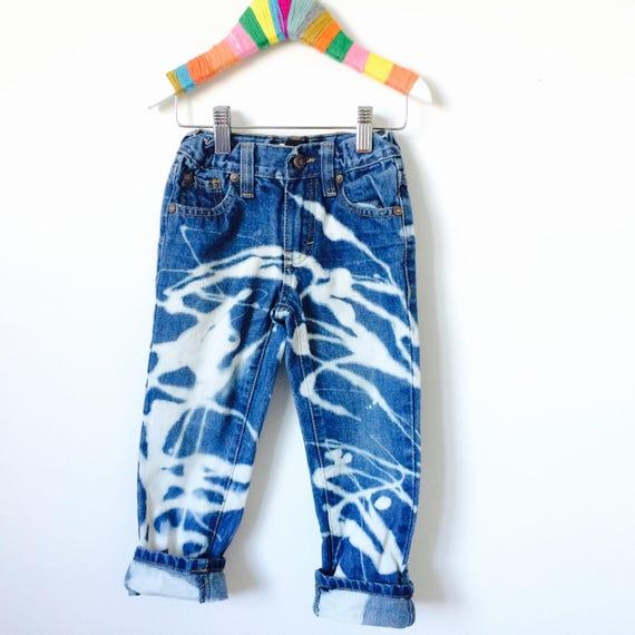 Kids Jeans 4-5 Years Customised Bleaxhed Stonewashed Tie Die Acid Wash Punk
