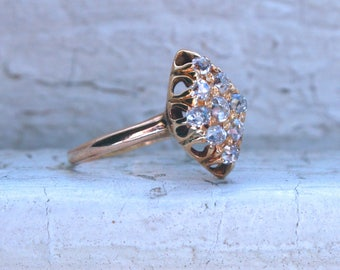 Fabulous Antique 10K Yellow Gold Diamond Cluster Engagement Ring - 0.63ct.