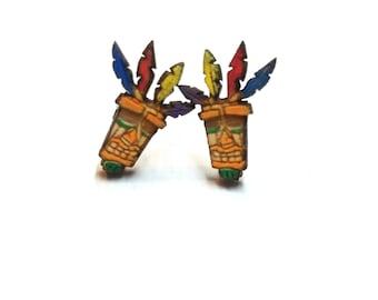 Aku Aku Crash Bandicoot Earrings  Laser Cut Jewelry   Hypoallergenic Studs   Wood Earrings
