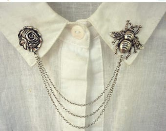 VACATION SALE bee and rose collar pins, collar chain, collar brooch, lapel pin, bee pin, bee brooch, rose brooch, rose pin, bee jewelry, bee