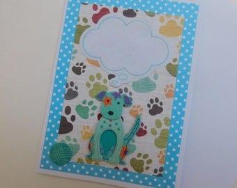 Blue Dog Card- Dog Note Card -  Dog Card - Thought Cloud Dog Card - Terrier Card