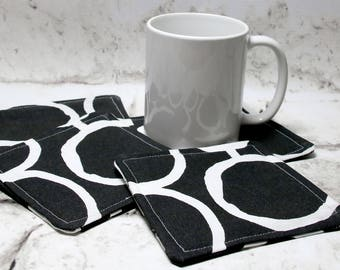 Black and White Circle Design Coaster Set, Set of 4
