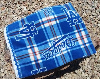 Los Angeles Dodgers Crocheted Fleece Blanket