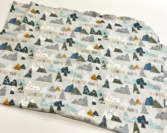 Grey Adventure Awaits Organic Cotton Knit Swaddle Blanket