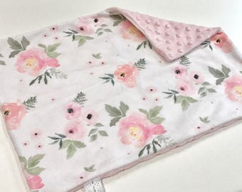 Pink Blush Floral Baby Girl MINKY Lovey Blanket, MINI Minky Baby Blanket, Taggie Blanket, Baby Bedding, Baby Lovey Blanket, Floral Lovey