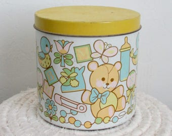Baby Canister Cheinco Manufacturing Steel with Lid 1970s-80s