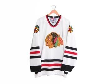vintage hockey jersey / Chicago Blackhawks / 90s sportswear / 1990s Chicago Blackhawks CCM home jersey XXL