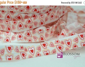 ON SALE CLEARANCE 2 or 5 Yard Increments - Hearts 5/8 Inch Printed Fold Over Elastic - foe - Red White - Valentine's Day - diy Baby Headband