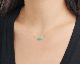 ON SALE Delicate simple everyday oval turquoise pendant necklace chain available in gold or silver