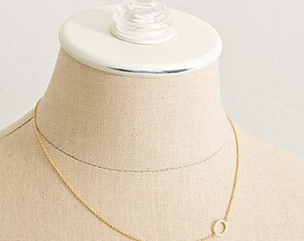 ON SALE Delicate simple modern Pave Ellipse Necklace
