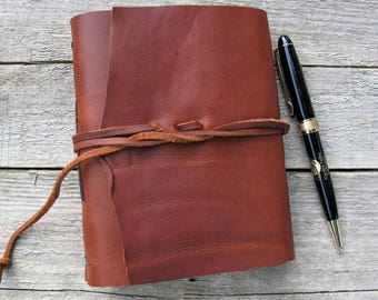 """Leather journal, Jane Eyre quote, Charlotte Bronte, """"I am no bird and no net ensnares me"""", rustic brown leather journal / 320 pages"""