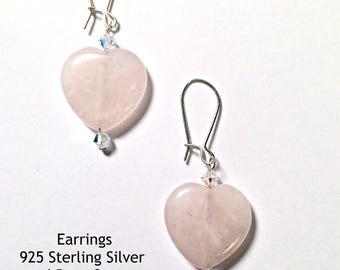 "Heart Shaped Earrings: 925 Sterling Silver, Rose Quartz &Swarovski Elements "" I Love You!""   By ANena Jewelry"