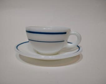 Pyrex Tableware by Corning Teal Band milk glass coffee cup and saucer 701 and 702, vintage kitchen, diner chic, mid-century moder