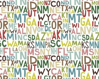 Coast To Coast by Whistler Studios for Windham Fabrics - State Abbreviations (43005-3 White) - 1 Yard