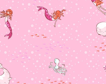 Sarah Jane - Michael Miller Fabrics - Best of Sarah Jane - Mermaid Play (DC5630-PINK-D) - 1 Yard