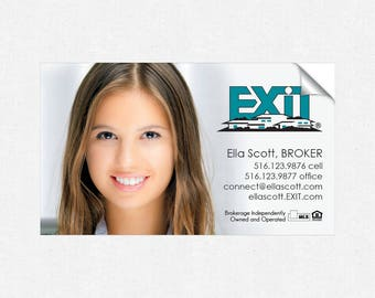 EXIT real estate deluxe glossy stickers - business card size - high end - crack and peel - FREE UPS ground shipping