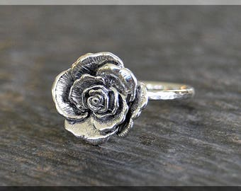 Sterling Silver Rose Ring, Rose Cocktail Ring,  Flower Stacking Jewelry, Stacking Ring, Rose Statement Ring, Sterling Silver Ring