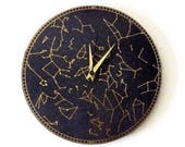 Wall Clock, Black and Gold Astronomy Bedroom Art, Wood Wall Decor