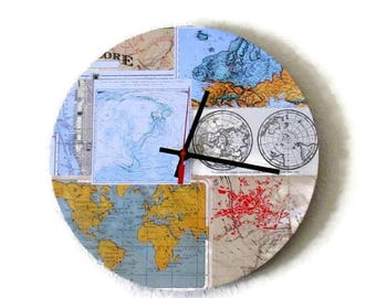 Map Wall Clock, Decor and Housewares, Home Decor, Unique Wall Clocks, Home and Living,  Unique Clock, Quartz Clock