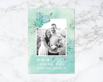 Printable Watercolor Succulents Theme Save the Date Invitation
