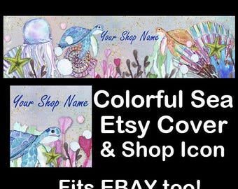 COLORFUL SEA Etsy Large Cover Banner Set/Premade Etsy Banner/Sea Creatures Shop Etsy Banner/Ocean Etsy, Undersea Etsy Banner, Ebay