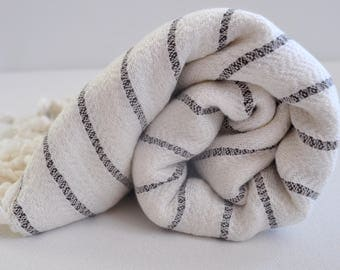 Turkish Bath Towel Bamboo Peshtemal Towel in ivory with black stripes soft  genuine handloomed