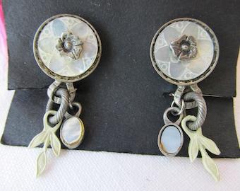 Earrings - Clip On Earrings - Mother of Pearl Earrings - Vintage