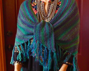 Soft and LIght Hand Knitted Blue and Green Variegated Acrylic Triangle Shawl