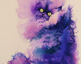 "Cat painting - persian purple watercolor giclee print title ""Feline groovy"""