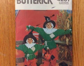 Scarecrow Costumes Pattern Halloween Costume Kids Children's Small Medium Large XLarge Top Pants Hat Hood Mitt Butterick 4287 UNCUT 1989