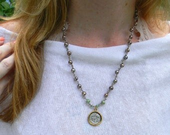 Santa Maria - Dainty Boho Layering Necklace - Hand Knotted Pearl Necklace with Coin