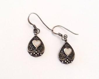 Heart Earrings, Sterling Silver, 1960s Vintage Jewelry SUMMER SALE
