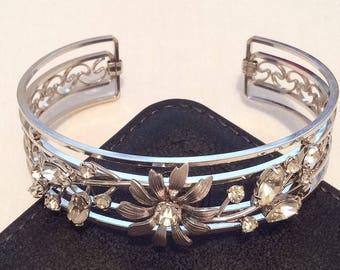 Krementz Bracelet, Rhinestone Bangle, 1960s Silver Tone Vintage Jewelry SUMMER SALE