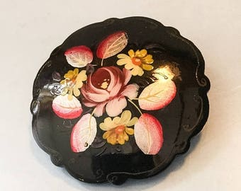 Half Price Sale Russian Black Lacquer Brooch Hand Painted Flowers Vintage Jewelry SUMMER SALE
