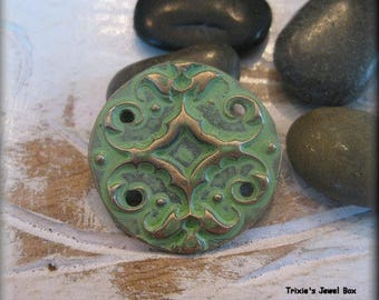 Handmade Solid Bronze Round Connector or Bracelet Component - Mint Green Patina!