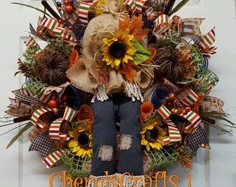 Fall Wreath,Fall Door/Wall Wreath,Scarecrow, Scarecrow Wreath,Fall Scarecrow Decor