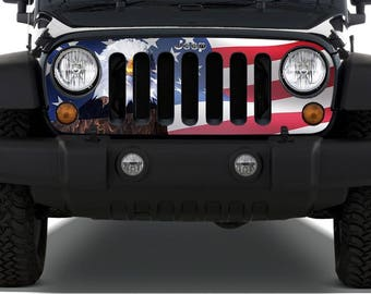 US Flag and Bald Eagle Grille Decal fit to 07- 16 Wrangler JK