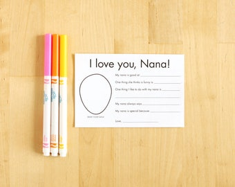 I love you Nana printable cards - Gifts for Nana - Personalized Grandparent Gifts - Kids Craft - Nana Gift