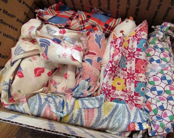 vintage feed sack fabric pieces