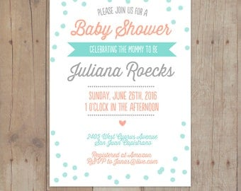 Mint Coral Navy Bridal Shower Baby Invitation Printable Invitation Card