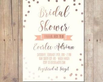 SUMMER SALE Rose Gold Tribal Confetti Bridal Shower Baby Shower Invitation Bridal Shower Printable Invitation OR Printed Card