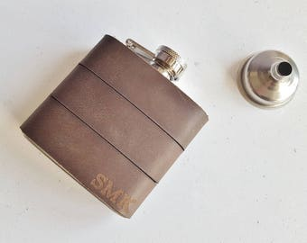 Custom Leather flask, Soft Brown Recycled Leather Strips, pull up leather, Hand Engraved, Best Man, country leather