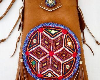 Brown African Leather Tribal Beaded Native Fringe Boho Bag