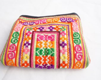 Colorful Boho Sequence Embroidered Antique Hill Tribe Textile Coin Pouch