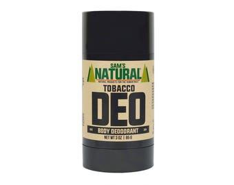 Sam's Natural - Tobacco Natural Deodorant for Men - Gifts for Men - Natural, Vegan + Cruelty-Free