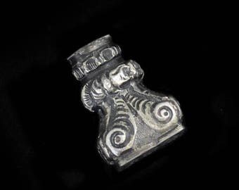 Lovely Antique  Repousse Silver French Seal End w Monogram